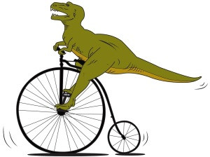 Dinosaur on Penny Farthing